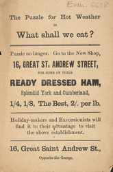 Advertisement for a butcher's shop